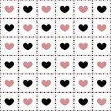 Teste padrão sem emenda de corações cor-de-rosa e pretos Imagens de Stock Royalty Free