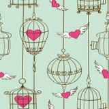 Teste padrão sem emenda de corações e de gaiolas do conceito Imagens de Stock Royalty Free