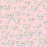 Teste padrão sem emenda de corações florais da aquarela Fotografia de Stock