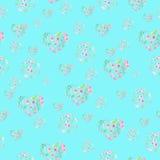 Teste padrão sem emenda de corações florais e de círculos da aquarela Imagens de Stock