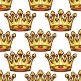 Teste padrão sem emenda de coroas reais medievais Fotos de Stock Royalty Free