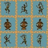 Teste padrão sem emenda de dançar aborígene africanos Fotografia de Stock Royalty Free