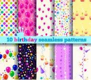 Teste padrão sem emenda de dez aniversários Imagens de Stock Royalty Free