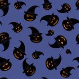 Teste padrão sem emenda de Dia das Bruxas para o fundo - abóboras no chapéu da bruxa - vector a ilustração Foto de Stock