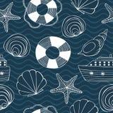 Teste padrão sem emenda de Eashells, de estrelas de mar, de boia salva-vidas, de navio e de ondas ilustração do vetor