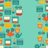 Teste padrão sem emenda de elementos e de cinema do filme Fotografia de Stock Royalty Free