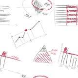 Teste padrão sem emenda de elementos infographic desenhados à mão Foto de Stock Royalty Free
