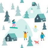 Teste padrão sem emenda de esqui com esqui dos povos e snowboarding na floresta da neve no vetor ilustração royalty free