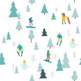 Teste padrão sem emenda de esqui com esqui dos povos e snowboarding na floresta da neve no vetor ilustração do vetor