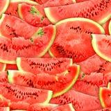 Teste padrão sem emenda de fatias vermelhas das melancias Fotografia de Stock