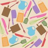 Teste padrão sem emenda de ferramentas da cozinha Imagem de Stock Royalty Free