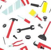 Teste padrão sem emenda de ferramentas da mão ilustração do vetor