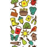 Teste padrão sem emenda de ferramentas e de acessórios de jardim ilustração stock