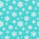 Teste padrão sem emenda de flocos de neve do inverno, fundo do vetor Textura repetida, superfície, papel de envolvimento Neve azu Fotos de Stock Royalty Free