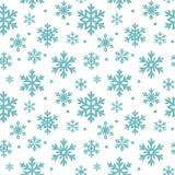 Teste padrão sem emenda de flocos de neve do inverno, fundo do vetor Textura repetida, superfície, papel de envolvimento Neve azu Imagem de Stock