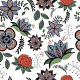 Teste padrão sem emenda de flores estilizados em um estilo retro Imagens de Stock Royalty Free