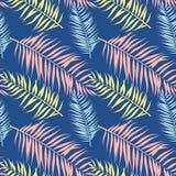 Teste padrão sem emenda de folhas de palmeira tropicais Ilustração do vetor Projeto liso Imagem de Stock Royalty Free
