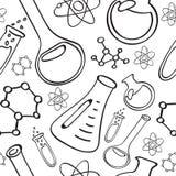 Teste padrão sem emenda de garatujas químicas do equipamento: garrafas, átomos, estruturas ilustração do vetor