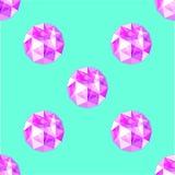 Teste padrão sem emenda de gemas roxas realísticas da ametista Ilustração do vetor Fotografia de Stock