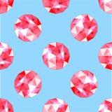 Teste padrão sem emenda de gemas vermelhas realísticas do rubi Ilustração do vetor Imagem de Stock Royalty Free