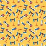 Teste padrão sem emenda de gyroscooters coloridos no fundo amarelo ilustração do vetor