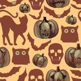 Teste padrão sem emenda de Halloween dos desenhos animados Foto de Stock