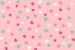 Teste padrão sem emenda de Heartcpink e projeto da cor verde em vagabundos cor-de-rosa Fotos de Stock