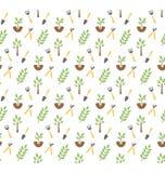 Teste padrão sem emenda de jardinagem isolado no branco Imagem de Stock Royalty Free
