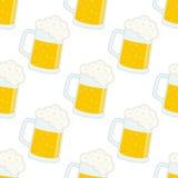 Teste padrão sem emenda de Lager Beer Glass ou da caneca ilustração royalty free