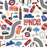 Teste padrão sem emenda de Londres Os desenhos animados rabiscam o fundo ilustração stock
