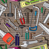 Teste padrão sem emenda de madeira das ferramentas Imagem de Stock Royalty Free