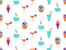 Teste padrão sem emenda de Martini e de bolo Creme na cesta Cocktail e café Vetor ilustração royalty free