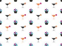 Teste padrão sem emenda de Martini e de bolo Creme na cesta cocktail Vetor ilustração do vetor