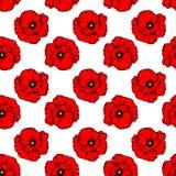 Teste padrão sem emenda de matéria têxtil com uma flor vermelha da papoila em um fundo branco ilustração do vetor
