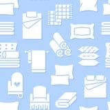 Teste padrão sem emenda de matérias têxteis da casa com ícones lisos do glyph O fundamento, linho do quarto, descansos, folhas aj ilustração stock