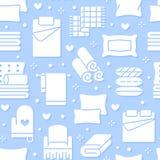 Teste padrão sem emenda de matérias têxteis da casa com ícones lisos do glyph O fundamento, linho do quarto, descansos, folhas aj ilustração do vetor