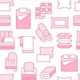 Teste padrão sem emenda de matérias têxteis da casa com linha lisa ícones O fundamento, linho do quarto, descansos, folhas aj ilustração royalty free