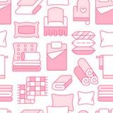 Teste padrão sem emenda de matérias têxteis da casa com linha lisa ícones O fundamento, linho do quarto, descansos, folhas aj ilustração stock