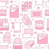 Teste padrão sem emenda de matérias têxteis da casa com linha lisa ícones O fundamento, linho do quarto, descansos, folhas aj ilustração do vetor