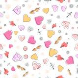 Teste padrão sem emenda de memphis com corações e símbolos do amor para Valentine Day ou o casamento Envolvimento para o empacota ilustração stock