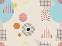 Teste padrão sem emenda de Memphis Elementos geométricos memphis ao estilo de 80s Bauhaus retro Vetor ilustração royalty free