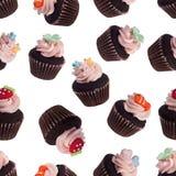 Teste padrão sem emenda de mini queques sortidos Imagens de Stock Royalty Free