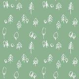 Teste padrão sem emenda de Minimalistic com as árvores tiradas mão Teste padrão moderno à moda com árvore rabiscada Esboçado esbo Imagem de Stock