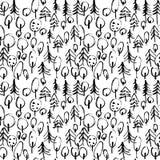 Teste padrão sem emenda de Minimalistic com as árvores tiradas mão Teste padrão moderno à moda com árvore rabiscada Esboçado esbo Imagem de Stock Royalty Free