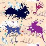 Teste padrão sem emenda de monstro engraçados coloridos Imagem de Stock Royalty Free