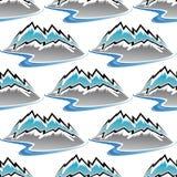 Teste padrão sem emenda de montanhas e de córregos do inverno Foto de Stock