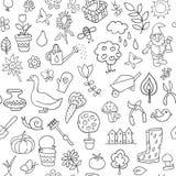 Teste padrão sem emenda de objetos de jardinagem Foto de Stock