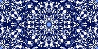 Teste padrão sem emenda de ornamento circulares Escuro - fundo azul ao estilo da pintura chinesa na porcelana ilustração stock
