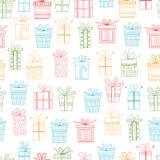 Teste padrão sem emenda de pacotes do presente, presentes do Natal Imagens de Stock Royalty Free