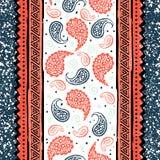 Teste padrão sem emenda de paisley do vintage Cópia floral - pepino turco Imagens de Stock
